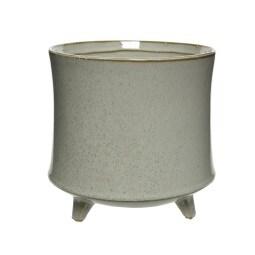 Übertopf auf Fuß 17 cm Keramik offwhite