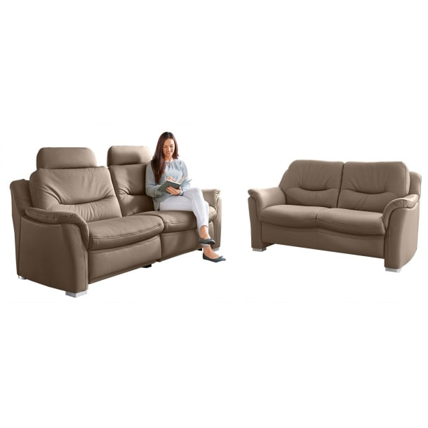 4lux Sofa Garnitur 2 teilig Lederbezug macciatobraun