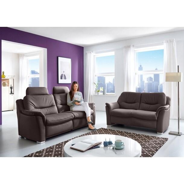 com4lux sofa garnitur 2 teilig lederbezug moccabraun. Black Bedroom Furniture Sets. Home Design Ideas