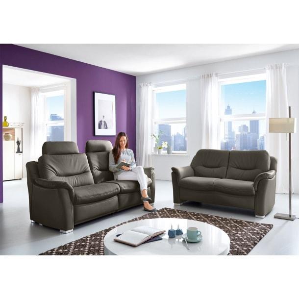 com4lux sofa garnitur 2 teilig lederbezug slategrau. Black Bedroom Furniture Sets. Home Design Ideas