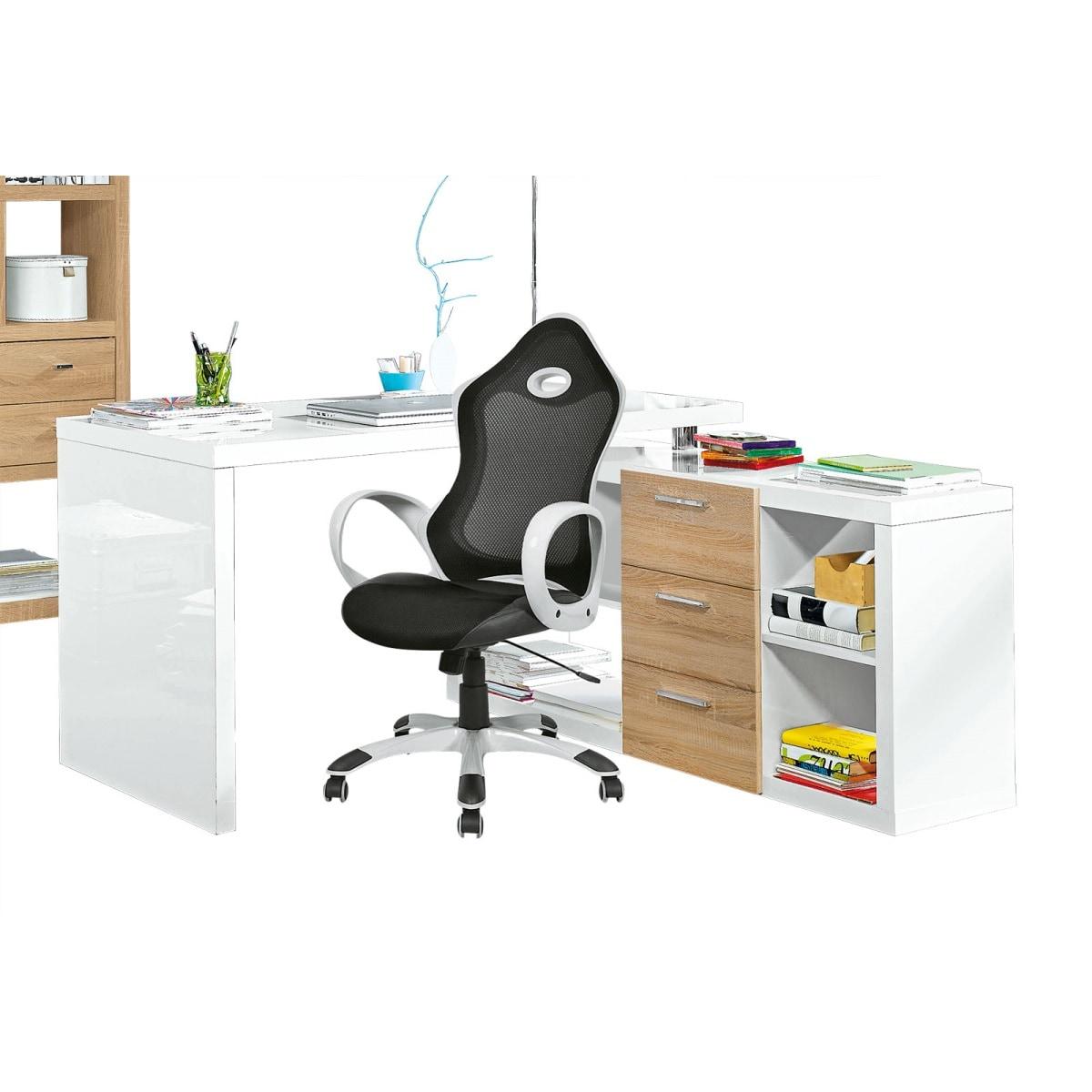 Schreibtisch weiß hochglanz 140  Eck-Schreibtisch mit Regal ANGELINA Hochglanz Weiß ca. 140 x 74 x ...
