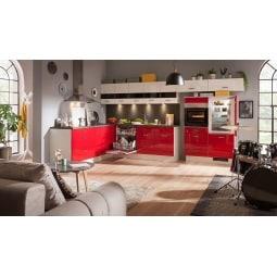 FAKTA Winkelküche Rot/Weiß Hochglanz ca. 245 x 285 cm