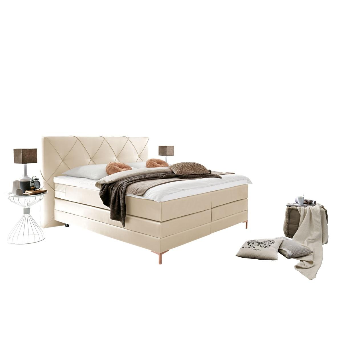 bett mondo stoffbezug cremewei ca 180 x 200 cm tonnentaschenfederkernmatratze h3 h4 porta. Black Bedroom Furniture Sets. Home Design Ideas