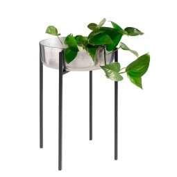 casaNOVA Übertopf mit Ständer COZY Xmas 34 cm Aluminium schwarz/silberfarbig
