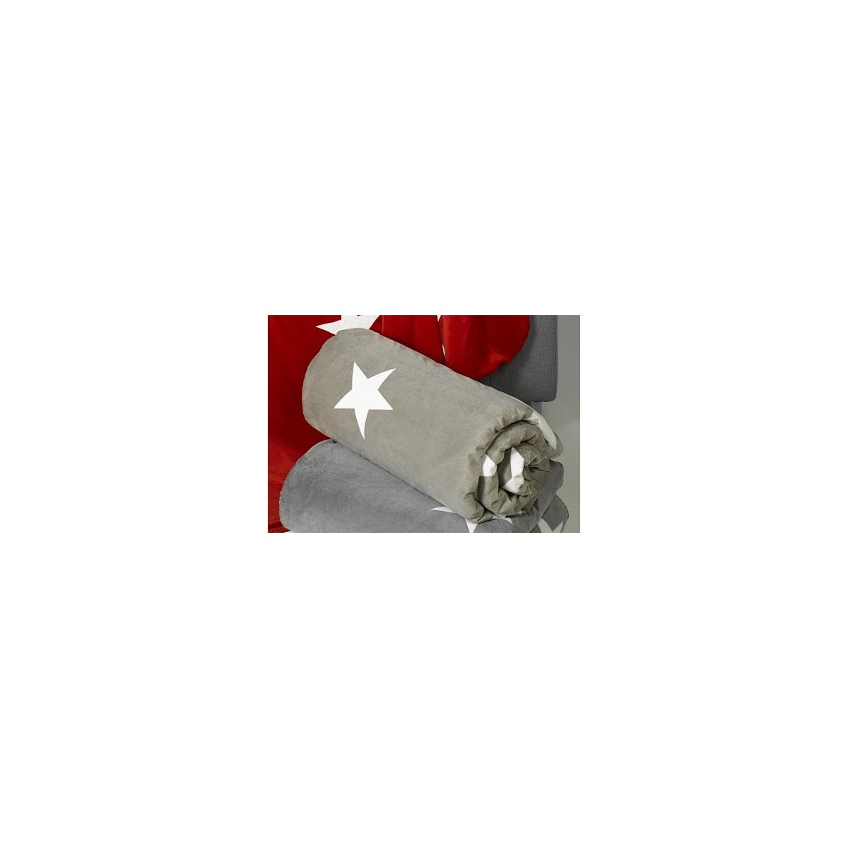 Wohnzimmer Sitzsack Chacos In Weiß Taupe: CasaNOVA Wohndecke STARS Taupe/Weiß