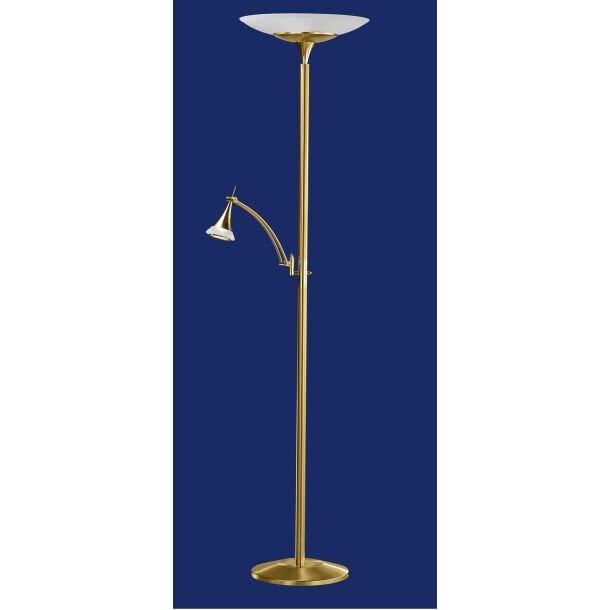 b leuchten led fluter stehlampe mit leselicht louis mattmessing porta. Black Bedroom Furniture Sets. Home Design Ideas