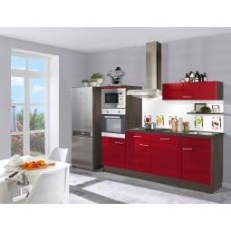 FAKTA Küchenzeile Rot Hochglanz/Ulme Caruba Dekor ca. 230 cm